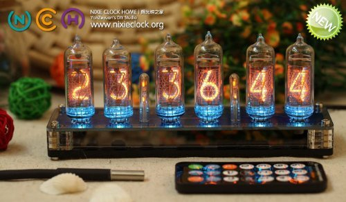 Classic-Nixie-Tube-Clock-Kit-In-14-Tubes-See-Through-Acrylic-Base-0