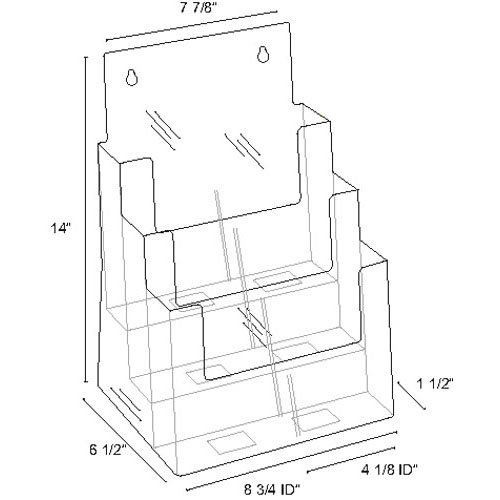 Clear-Ad-LHF-S83-Acrylic-3-Tier-Brochure-Holder-Organizer-Table-Top-or-Wall-Mount-85-x-11-0-0