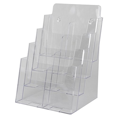 Clear-Ad-LHF-S84-Acrylic-4-Tier-Brochure-Holder-Organizer-Table-Top-or-Wall-Mount-85-x-11-0-1