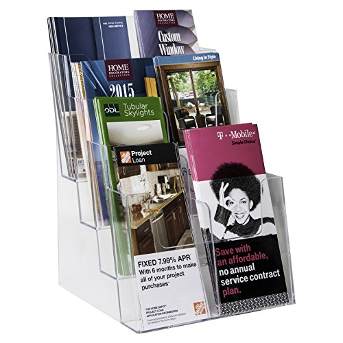Clear-Ad-LHF-S84-Acrylic-4-Tier-Brochure-Holder-Organizer-Table-Top-or-Wall-Mount-85-x-11-0