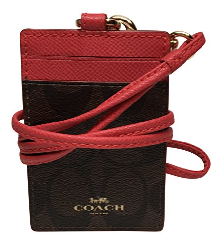 Coach-Signature-Brown-Red-Lanyard-ID-Badge-Card-Holder-63274-0