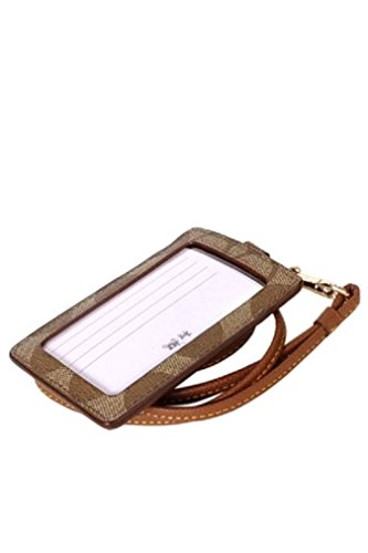 Coach-Signature-C-PVC-Canvas-Leather-Khaki-Saddle-Lanyard-Badge-ID-Credit-Card-Holder-63274-0-0