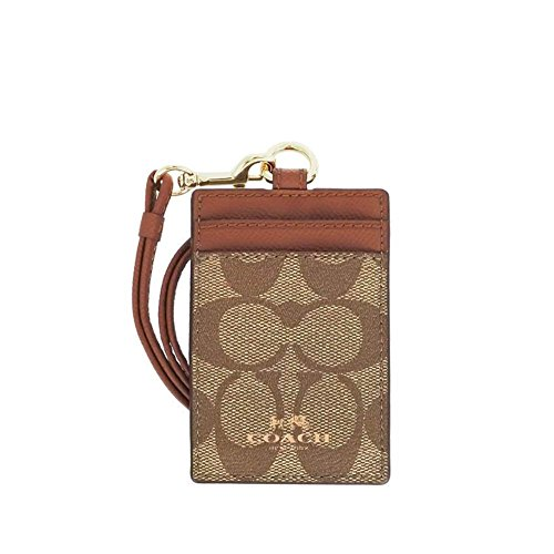 Coach-Signature-C-PVC-Canvas-Leather-Khaki-Saddle-Lanyard-Badge-ID-Credit-Card-Holder-63274-0