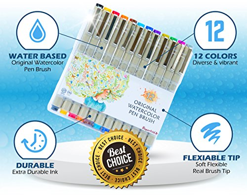 Colored-Brush-Pens-by-Buyartosh-12-Water-Based-Markers-with-Flexible-Tips-and-Caps-plus-Case-and-Ebook-for-Coloring-Writing-Sketching-and-Drawing-0-0
