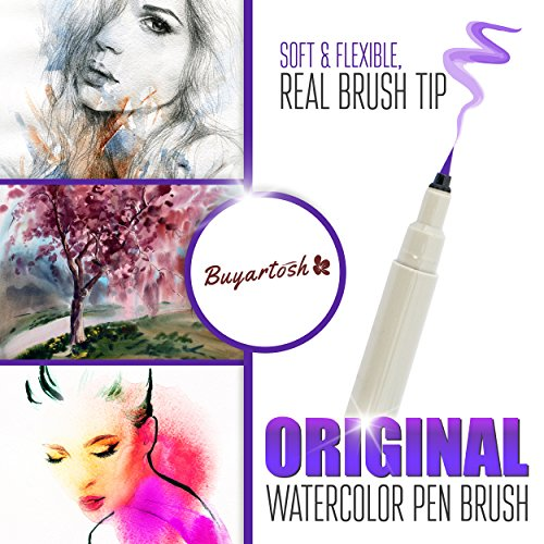 Colored-Brush-Pens-by-Buyartosh-12-Water-Based-Markers-with-Flexible-Tips-and-Caps-plus-Case-and-Ebook-for-Coloring-Writing-Sketching-and-Drawing-0-1