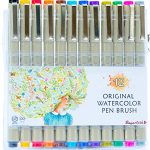 Colored-Brush-Pens-by-Buyartosh-12-Water-Based-Markers-with-Flexible-Tips-and-Caps-plus-Case-and-Ebook-for-Coloring-Writing-Sketching-and-Drawing-0