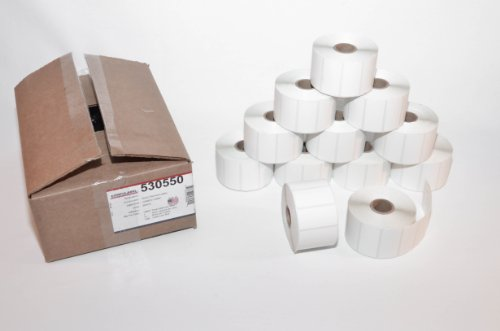 CompuLabel-Direct-Thermal-Labels-2-Inch-x-1-Inch-White-Roll-Permanent-Adhesive-Perforations-Between-Labels-1300-per-Roll-12-Rolls-per-Carton-530550-0-1