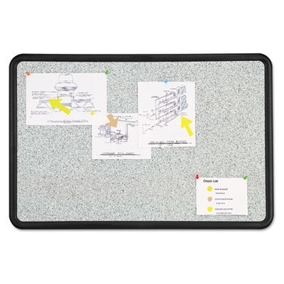 Contour-Granite-Gray-Tack-Board-36-x-24-Black-Frame-Sold-as-1-Each-0