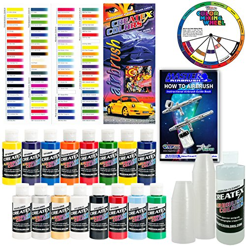 Createx-KIT-SUPER16-Airbrush-Super-Starter-Kit-With-Pack-of-100-1-Ounce-Paint-Mixing-Cups-Airbrush-Book-Createx-Color-Chart-of-all-80-Colors-and-Pocket-Mixing-Color-Pocket-Wheel-0