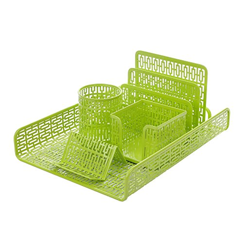 Crystallove-Metal-Mesh-Desk-Accessories-Office-Products-Organizer-Set-of-5pcs-Document-Tray-Mail-Sorter-Pencil-Cup-Memo-Holder-and-Business-Card-Holder-0-0