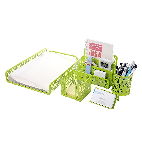 Crystallove-Metal-Mesh-Desk-Accessories-Office-Products-Organizer-Set-of-5pcs-Document-Tray-Mail-Sorter-Pencil-Cup-Memo-Holder-and-Business-Card-Holder-0