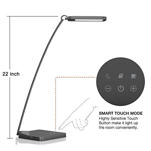 Desk-LampOak-Leaf-Aluminum-Alloy-LED-Desk-Lamp-with-5V1A-USB-Charging-PortModern-DesignTouch-ControlEye-caring-Panel-Design3-Lighting-Modes5-Level-Dimmer10W22-inches-Long-Lamp-0-0