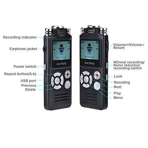 Digital-Audio-Voice-Recorder-8GB-MP3-Player-AGC-Recording-One-touch-Recording-1536Kbps-Sampling-Ultra-high-fidelity-Sound-Track-Recording-Black-8821-0-0