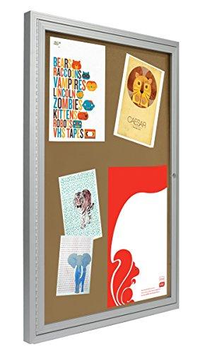 Displays2go-2×3-Foot-Cork-Enclosed-Bulletin-Board-24-x-36-with-Hinged-Door-Aluminum-LCRKSF2436-0-0