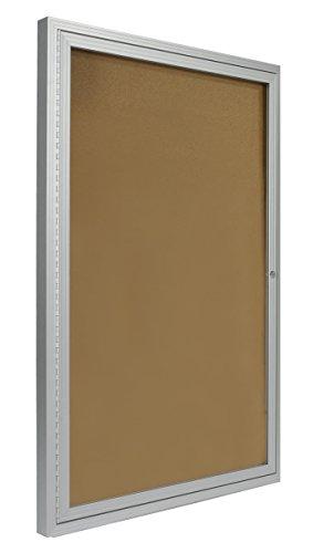 Displays2go-2×3-Foot-Cork-Enclosed-Bulletin-Board-24-x-36-with-Hinged-Door-Aluminum-LCRKSF2436-0-1