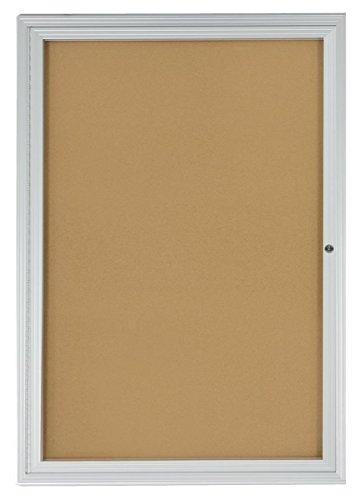 Displays2go-2×3-Foot-Cork-Enclosed-Bulletin-Board-24-x-36-with-Hinged-Door-Aluminum-LCRKSF2436-0