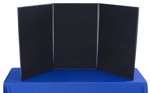 Displays2go-3-Panel-Tabletop-Exhibition-Board-72-x-36-Inches-Velcro-Receptive-Fabric-Black-and-Gray-3P7236BKGR-0