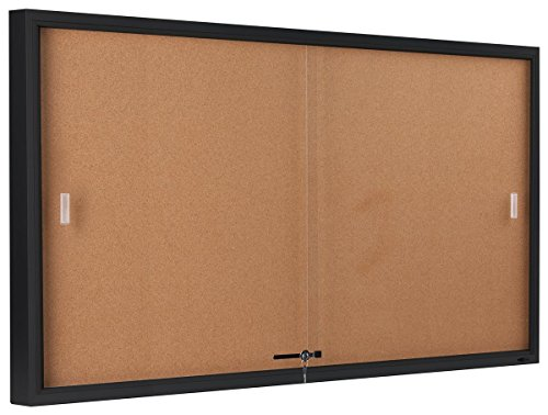Displays2go-5-x-3-Feet-Enclosed-Sliding-Door-Cork-Bulletin-Board-Self-Healing-Corkboard-Display-Surface-60-x-36-Inches-Notice-Board-for-Wall-Mount-with-Mounting-Hardware-Aluminum-Frame-Black-CBSD6036B-0-0