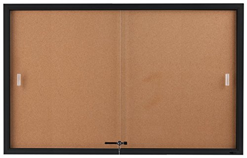 Displays2go-5-x-3-Feet-Enclosed-Sliding-Door-Cork-Bulletin-Board-Self-Healing-Corkboard-Display-Surface-60-x-36-Inches-Notice-Board-for-Wall-Mount-with-Mounting-Hardware-Aluminum-Frame-Black-CBSD6036B-0