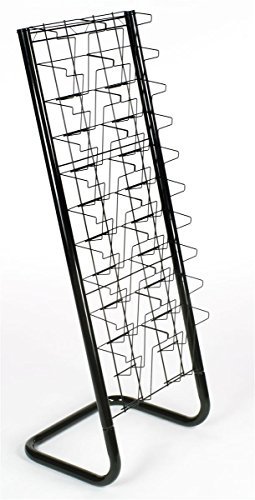 Displays2go-57-Inch-Floor-Standing-Wire-Magazine-Rack-20-Pockets-Tiered-Design-Black-WFM1020A-0-0