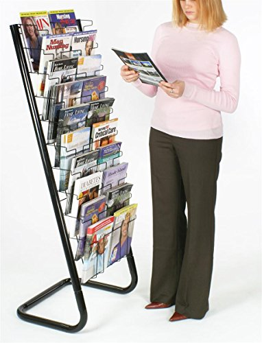 Displays2go-57-Inch-Floor-Standing-Wire-Magazine-Rack-20-Pockets-Tiered-Design-Black-WFM1020A-0-1
