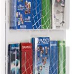 Displays2go-Hanging-Literature-Rack-with-Adjustable-Pockets-29×48-Clear-Acrylic-RP12CLR-0