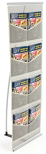 Displays2go-Magazine-Display-with-8-Pockets-Silver-Mesh-Construction-Ultra-Compact-and-Portable-54-Inch-Tall-MSQUTO8-0