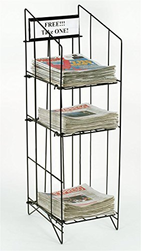 Displays2go-Newspaper-Rack-For-Tabloid-Size-Publications-12-14-x-43-x-16-Inches-Free-Standing-Floor-Fixture-Gloss-Black-Wire-Sign-Channel-Plate-NRWRCT3T-0