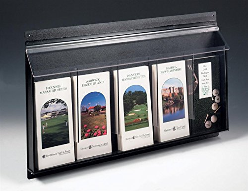 Displays2go-Outdoor-Literature-Holders-24-x-16-x-2-Inches-Clear-Acrylic-Front-with-Black-ABS-Backboard-Brochure-Displays-Leaflet-Dispensers-Have-Five-Pockets-for-Advertising-OPD5-0