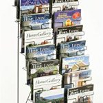 Displays2go-Tiered-Black-Wire-Magazine-Rack-Free-Standing-Floor-Fixture-with-20-Stacked-Pockets-Sign-Slot-WRF10T19-0
