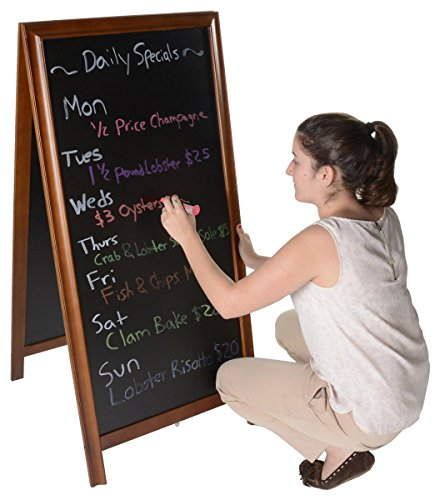 Double-sided-Sidewalk-Sandwich-Board-Sign-with-2-20-x-42-Write-on-Blackboards-A-frame-Sign-Works-Best-with-Wet-and-Dry-erase-Markers-Dark-Brown-Wood-Framing-0-0
