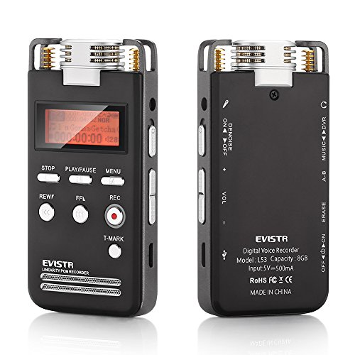 EVISTR-Portable-Digital-Recorder-Stereo-HD-Recording-8GB-Voice-Activated-Recorder-Pro-Dynamic-Noise-Reduction-with-MP3-Player-Dual-Microphone-1536Kbps-PCM-Recorder-Dictaphone-0-0