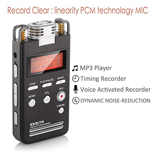 EVISTR-Portable-Digital-Recorder-Stereo-HD-Recording-8GB-Voice-Activated-Recorder-Pro-Dynamic-Noise-Reduction-with-MP3-Player-Dual-Microphone-1536Kbps-PCM-Recorder-Dictaphone-0-1