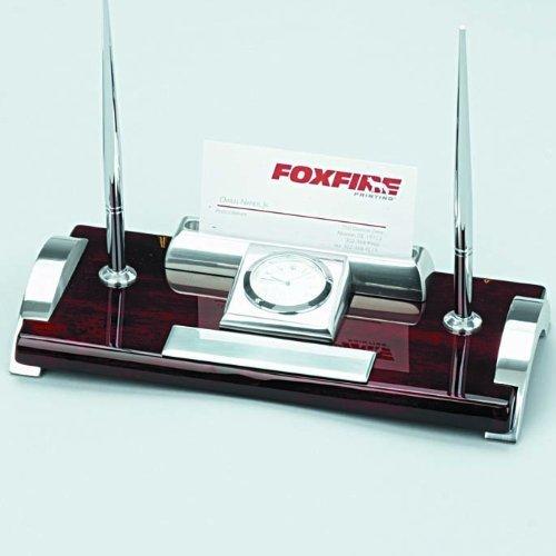 Elegance-Silver-Clock-2-Pens-Card-Holder-Desk-Set-0