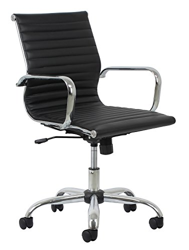 Essentials-Soft-Ribbed-Leather-Executive-Conference-Chair-with-Arms-Ergonomic-Adjustable-Swivel-Chair-BlackChrome-ESS-6090-0