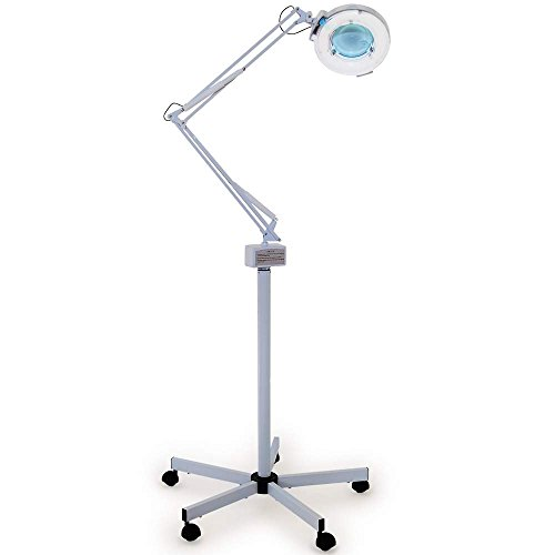 Esthology Facial Magnifying Lamp 5 Diopter With Rolling Floor Stand Adjustable Mag Light