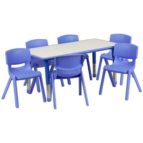 Flash-Furniture-Adjustable-Rectangular-Plastic-Activity-Table-Set-with-6-School-Stack-Chairs-0