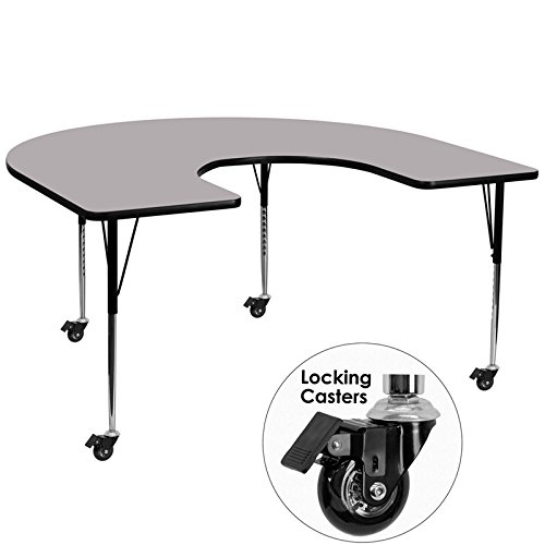 Flash-Furniture-Mobile-60-by-66-Inch-Horseshoe-Activity-Table-with-Grey-Thermal-Fused-Laminate-Top-and-Standard-Height-Adjustable-Legs-0