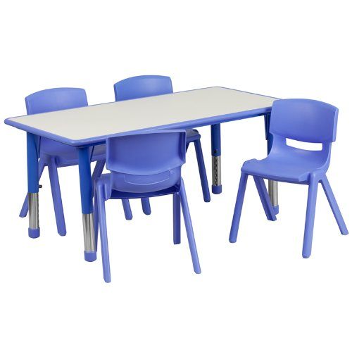 Flash-Furniture-Rectangular-Adjustable-Plastic-Activity-Table-Set-with-4-School-Stack-Chairs-0