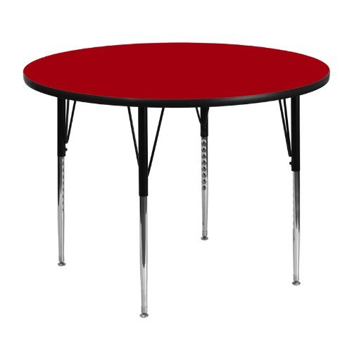 Flash-Furniture-Round-Activity-Table-with-Grey-Thermal-Fused-Laminate-Top-And-Standard-Height-Adjustable-Legs-0