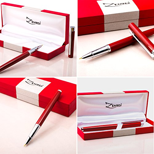 Fountain-Pens-Set-and-Gift-Case-Million-Dollar-Red-with-Ink-Refill-Converter-Timeless-Classics-Collection-Executive-Writing-Signature-Calligraphy-Pen-For-International-Cartridges-100-Warranty-0-0