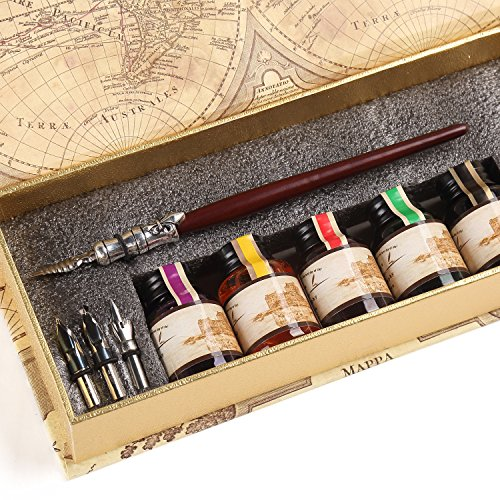 GC-QUill-Calligraphy-Pen-Set-Writing-Case-with-5-Bottle-Ink-0