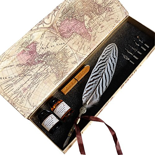 GC-Writting-Quill-Feather-Pen-2-Bottle-Inks-100-Hand-Craft-Copper-Pen-Stem-Antique-True-Feather-Metal-Nibbed-Calligraphy-Pen-Dip-Pen-L16112-For-Harry-Potter-Fans-0