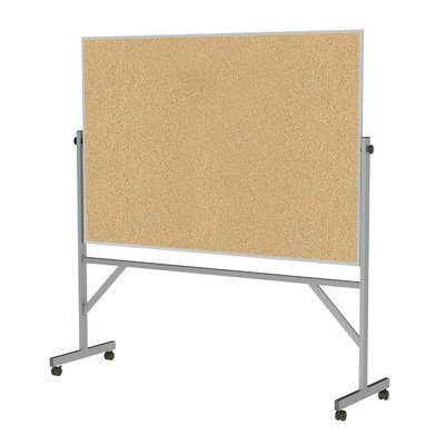 Ghent-4-x-6-Aluminum-Frame-Mobile-Reversible-Free-Standing-Double-Sided-Natural-Corkboard-0