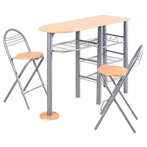3 Piece Dining Set Bar Stools Pub Table Breakfast Chairs: Giantex Pub Dining Set Counter Height 3 Piece Table And