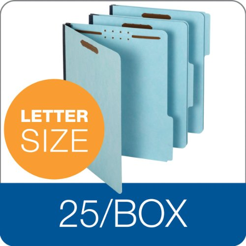 Globe-WeisPendaflex-Pressboard-File-Folder-with-2-Fasteners-1-Inch-Expansion-13-Tabs-Letter-Size-25-Pack-Blue-615F21-3BLU-0-0