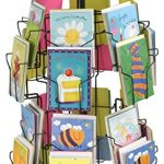 Greeting-Card-Display-Stand-with-24-5-x-7-Pockets-for-Countertop-Use-29-inches-Tall-Rotating-Wire-Rack-Black-Wire-with-Plastic-Base-and-Sign-Holder-0