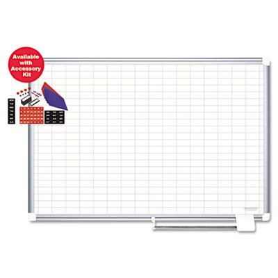Grid-Planning-Board-w-Accessories-1×2-Grid-36×24-WhiteSilver-Sold-as-1-Each-0