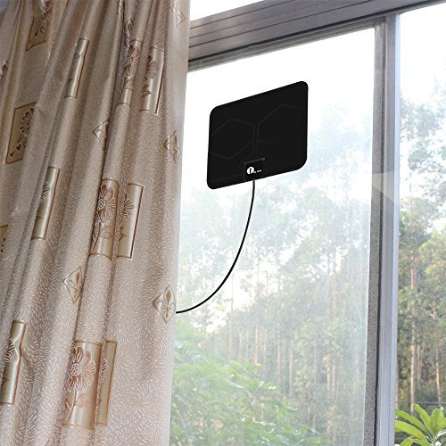 HDTV-Antenna-1byone-Super-Thin-Digital-Indoor-HDTV-Antenna-25-Miles-Range-with-10ft-High-Performance-Coax-Cable-Extremely-Soft-Design-and-Lightweight-0-1