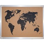 Hand-Printed-World-Map-Bulletin-Board-with-Aluminum-Frame-18-x-24-0